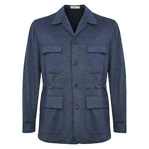Petrol Blue Wool Teba Jacket