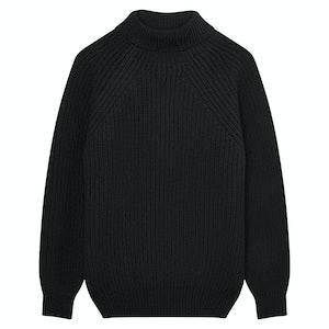 Black Merino Wool Ribbed Rollneck Sweater