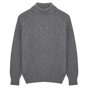 Grey Merino Wool Ribbed Rollneck Sweater