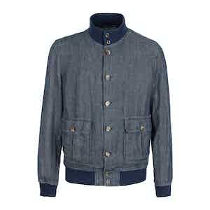 Mottled Blue Linen Unlined Valstarino Jacket