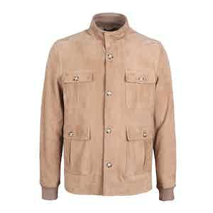 Camel Brown Buttery Suede Field Jacket