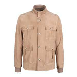 Camel Brown Buttery Suede Field Jacket
