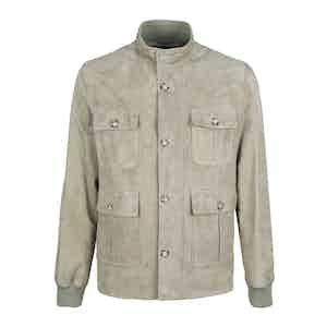 Neutral Buttery Suede Lined Field Jacket