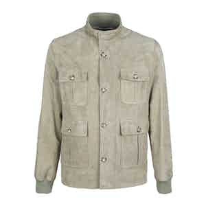 Neutral Buttery Suede Lined Field Jacket