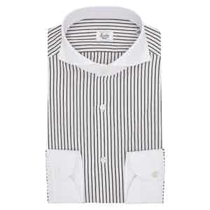White and Brown Egyptian Cotton Stripe Contrast Collar Shirt