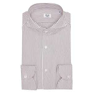 White and Red Egyptian Cotton Thin Strip Shirt