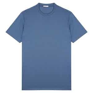 Azure Cotton Crew Neck T-shirt
