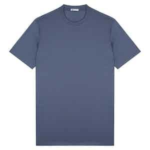 Dark Azure Cotton Crew Neck T-shirt