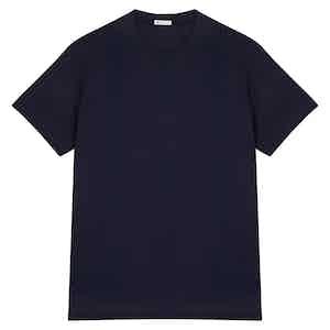 Navy Blue Cotton Crew Neck T-shirt