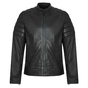 Black Lambskin Leather Quilted Biker Jacket