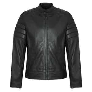 Black Lambskin Leather Quilted Biker Jacket