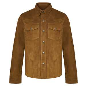 Orange Goat Suede Western Shirt