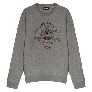 Grey Cotton Embroidered Sweatshirt