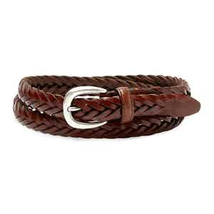 Cognac Hand-Braided Full Grain Cowhide Leather Ellar Belt