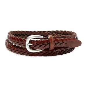 Cognac Hand-Braided Full Grain Cowhide Leather Ellar Belt