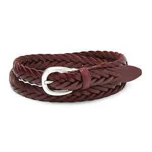 Burgundy Hand-Braided Full Grain Cowhide Leather Ellar Belt