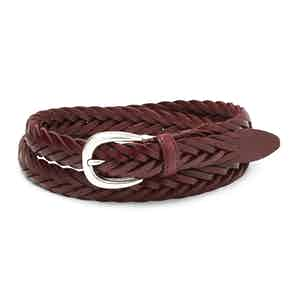Burgundy Hand-Braided Full Grain Cowhide Leather Ellar Belt