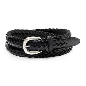 Black Hand-Braided Full Grain Cowhide Leather Ellar Belt