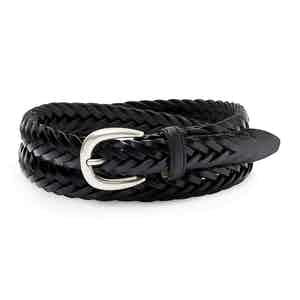 Black Hand-Braided Full Grain Cowhide Leather Ellar Belt