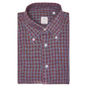 Wine Red and Blue Check Irish Linen Shirt
