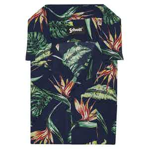Blue Viscose Tropical Print Hawaiian Shirt