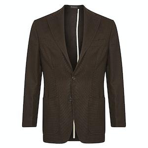 Brown Single-Breasted Patch Pocket Virgin Wool Jacket