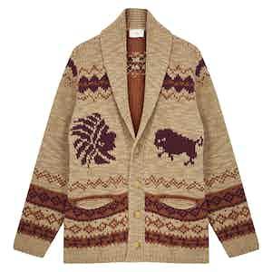 Tan, Burgundy and Orange Wool Shawl Collar Cardigan