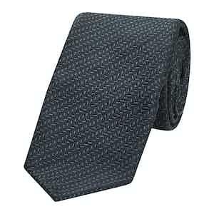 Green and Navy Herringbone Silk Sevenfold Tie