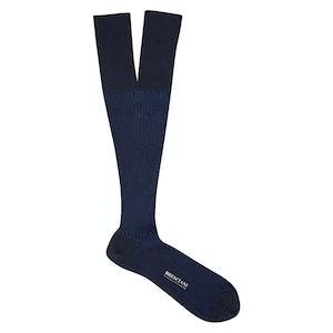 Navy Knee-Length Cotton Socks
