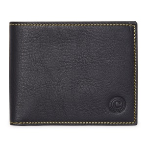 Black Leather Wallet With Contrast Yellow Stitching
