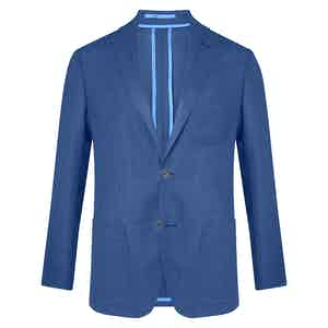 Royal Blue Unlined Single-Breasted Patch Pocket Jacket