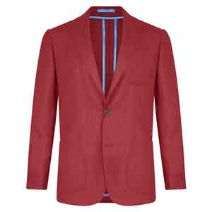Red Unlined Single-Breasted Patch Pocket Jacket