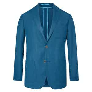 Turquoise Unlined Single-Breasted Patch Pocket Jacket