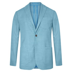 Light Turquoise Unlined Single-Breasted Patch Pocket Jacket