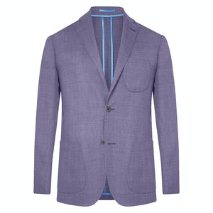 Purple Unlined Single-Breasted Patch Pocket Jacket