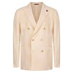 Cream Flax Linen Double-Breasted Suit