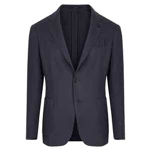 Navy Flax Linen Single-Breasted Suit