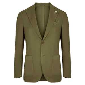 Military Green Wool Single-Breasted Suit