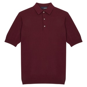 Burgundy Cotton Knitted Short-Sleeve Polo Shirt