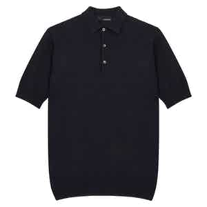 Navy Cotton Knitted Short-Sleeve Polo Shirt