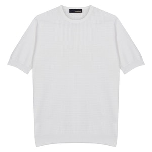White Cotton Crew Neck Sweater
