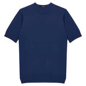 Light Blue Cotton Knitted Crew Neck T-Shirt