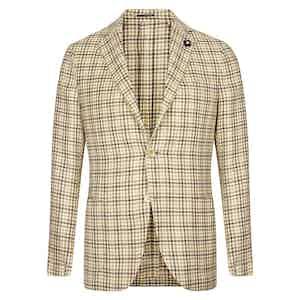 Green & Beige Check Silk, Linen & Wool Jacket