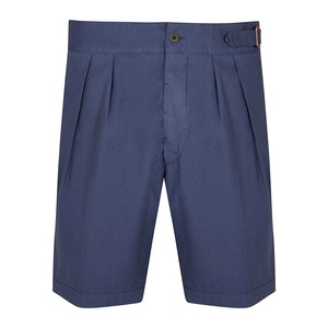 Light Blue Cotton Pleated Shorts