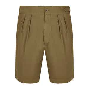 Military Green Cotton Pleated Shorts