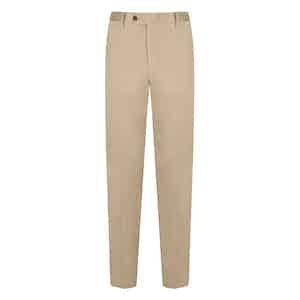 Beige Cotton Flat Front Trousers