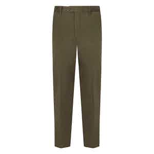 Military Green Cotton Flat Front Trousers