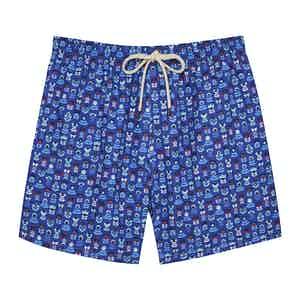 Blue Flowers Swimming Shorts