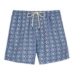 Blue Mini Flowers Swimming Shorts