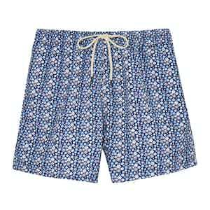 Blue Mini Flowers Swimming Shorts